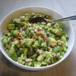The cucumber-avocado salsa is the best part of this meal.  The red onion and jalapeno give the salsa a little kick, which is balanced by the cool cucumber and avocado.
