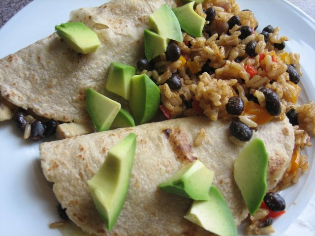 Baked chicken, rice, and black bean burritos