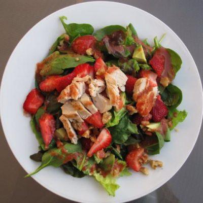 Strawberry Chicken Salad with Warm Citrus Dressing