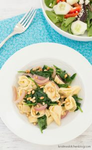 Tortellini with Spinach, Onion, and Pine Nuts - a favorite easy meal that's full of flavor! | Kristine's Kitchen