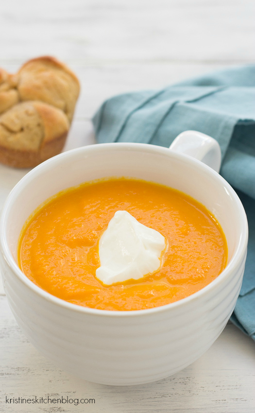 Carrot-Ginger Soup. My all-time favorite soup recipe!  6 ingredients, quick & easy!   Kristine's Kitchen
