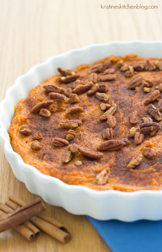 This Healthy Sweet Potato Casserole is filled with warm spices and lightly sweetened with honey | Kristine's Kitchen