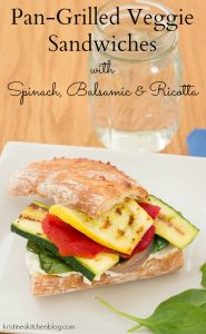 Pan-Grilled Veggie Sandwiches with Spinach, Balsamic, and Ricotta | Kristine's Kitchen
