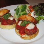 Mini meatball sliders with basil pesto