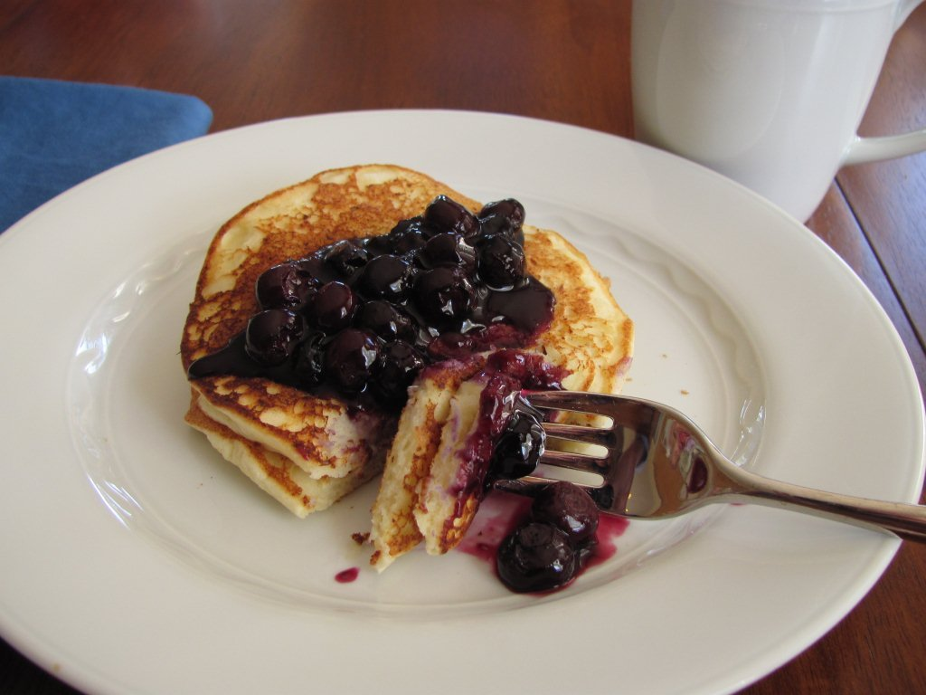 Lemon Ricotta Pancakes with Blueberry Sauce - Kristine's Kitchen
