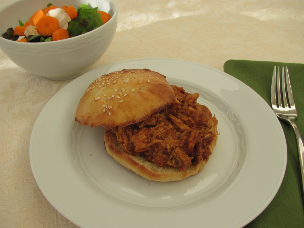 Slow Cooker Pulled Chicken Sandwiches - Kristine's Kitchen