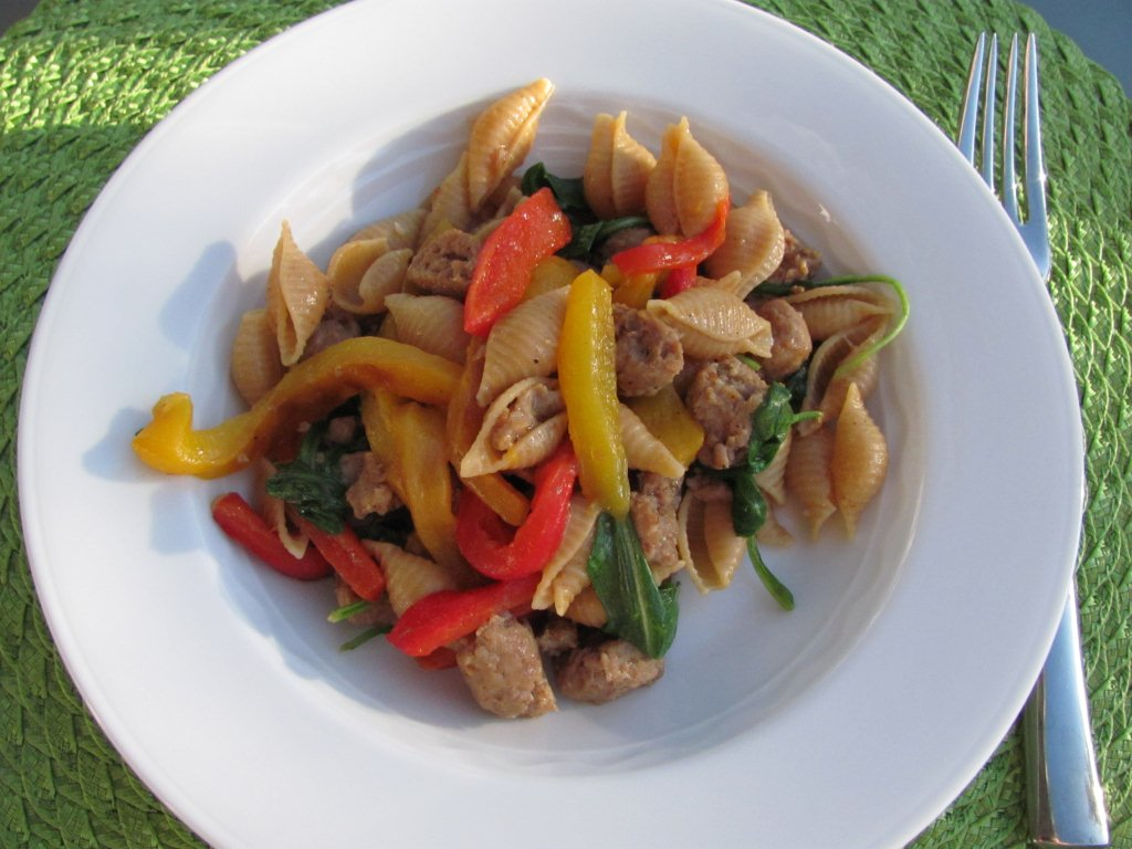 Shell Pasta with Sausage and Roasted Peppers - Kristine's Kitchen
