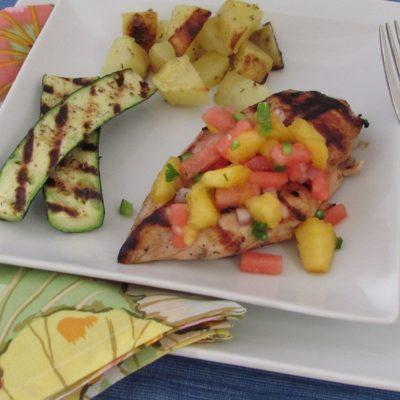 Grilled Chicken with Peach-Watermelon Salsa