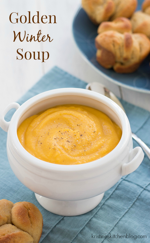 Golden Winter Soup.  Butternut squash, leek, and potato combine in this smooth, hearty soup. | Kristine's Kitchen