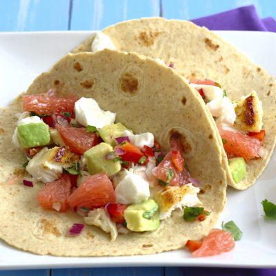 Fish Tacos with Grapefruit and Avocado Salsa