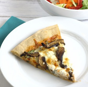 pizza with portobellos, spinach, and goat cheese ~ Kristine's Kitchen