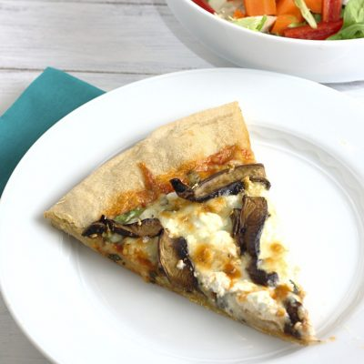 Pizza with Portobellos, Spinach, and Goat Cheese
