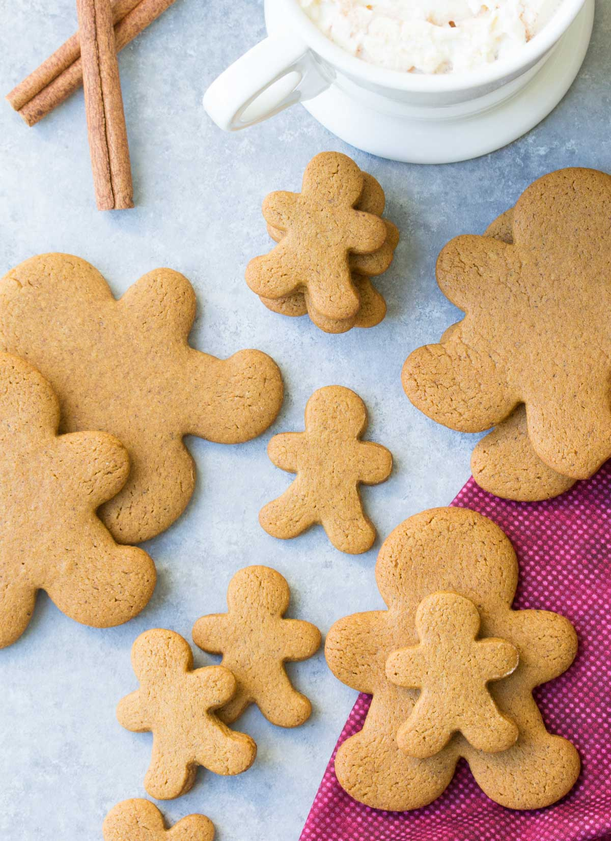 Our FAVORITE gingerbread cookie recipe! Perfectly spiced, soft cookies made with whole wheat flour and less sugar so they're healthier. | www.kristineskitchenblog.com