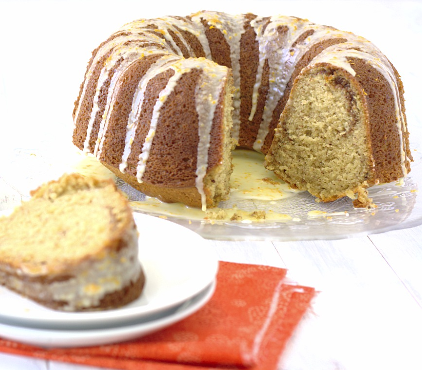 Pecan-Sour Cream Coffee Cake with Orange Glaze - Kristine's Kitchen