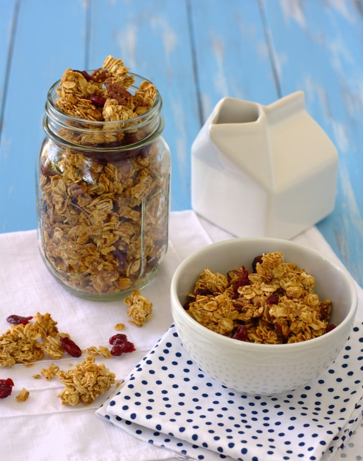 Cluster Maple Granola- a heart-healthy breakfast that you will want to wake up for! | Kristine's Kitchen