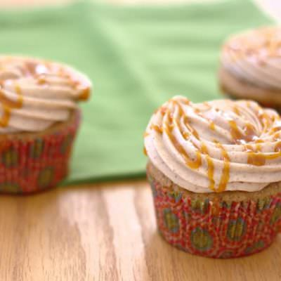 Caramel Apple Spice Cupcakes with Cinnamon Cream Cheese Frosting