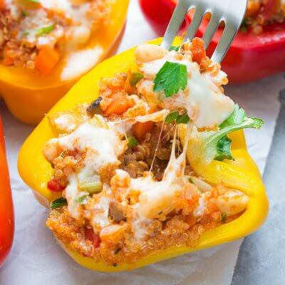Italian Quinoa Stuffed Peppers (Make Ahead Option)