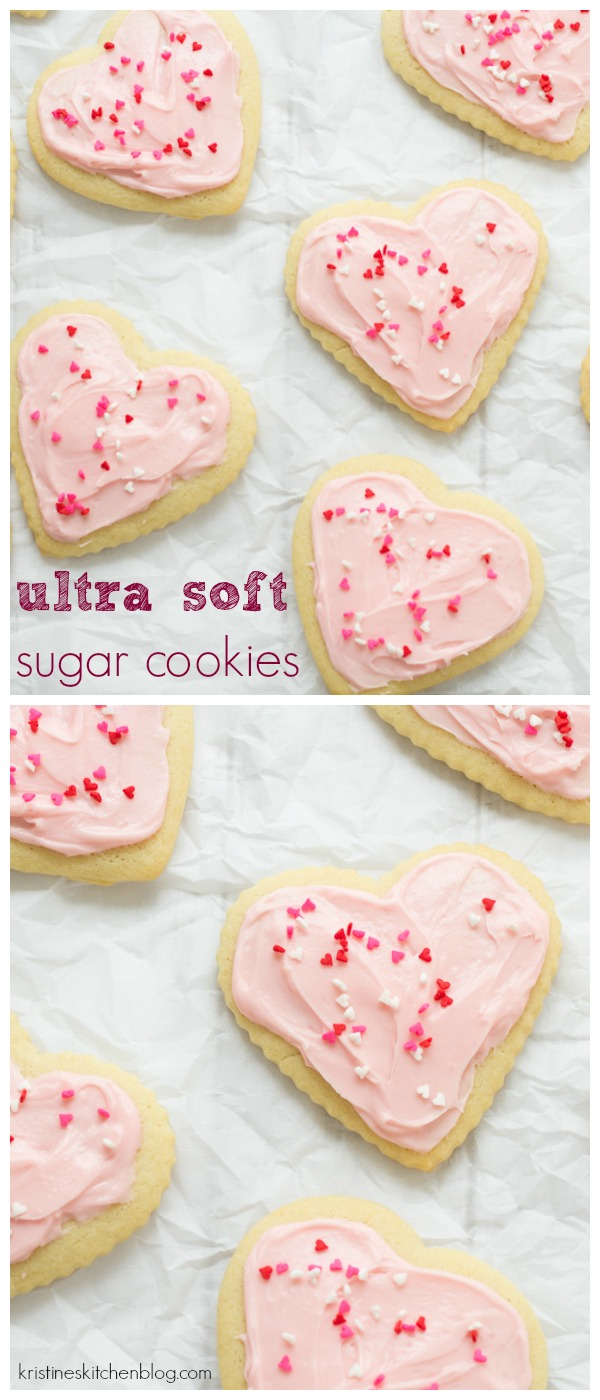 My favorite sugar cookies with cream cheese frosting. Perfect for Valentine's Day, Christmas, or any holiday!
