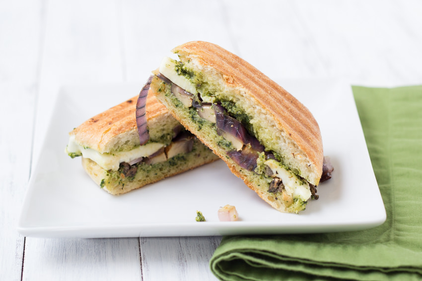 Portabella Pesto Panini - a veggie sandwich to die for!  | Kristine's Kitchen