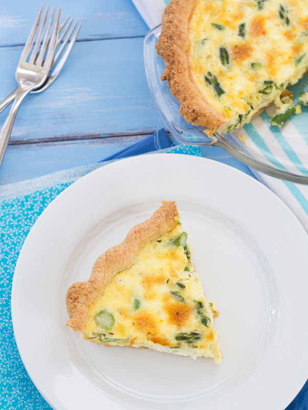 Asparagus and Goat Cheese Quiche by Kristine's Kitchen. Perfect for Mother's Day brunch or a casual weeknight dinner.