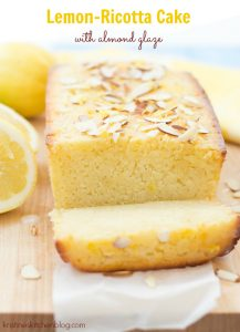 Lemon-Ricotta Cake with Almond Glaze by Kristine's Kitchen. This lemon cake is bursting with sweet-tart lemon flavor!