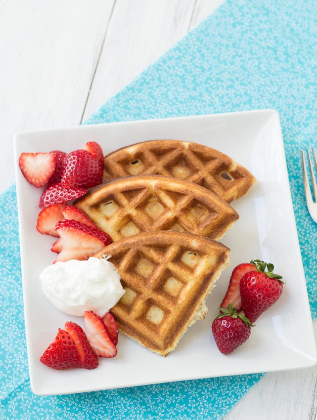 Whole-Wheat Ricotta Waffles with Strawberries and Yogurt- perfect for a leisurely breakfast or grab and go! | Kristine's Kitchen