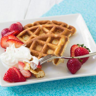 Whole-Wheat Ricotta Waffles with Strawberries and Yogurt
