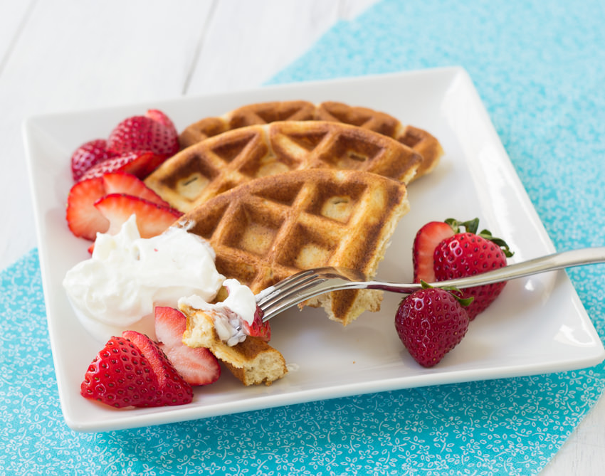 Whole-Wheat Ricotta Waffles with Strawberries and Yogurt- perfect for ...