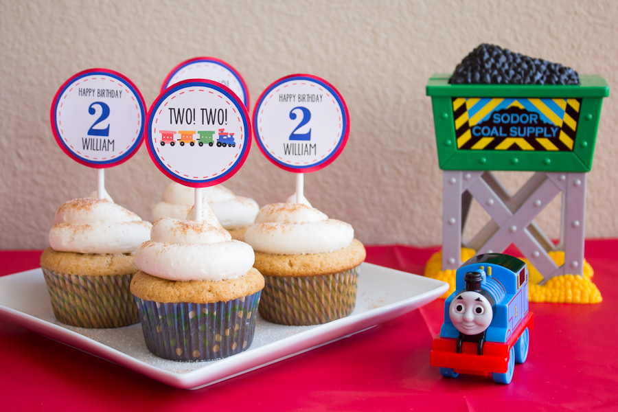 photo about Free Printable Thomas the Train Cup Cake Toppers named William is 2: A Thomas the Practice Birthday Bash!
