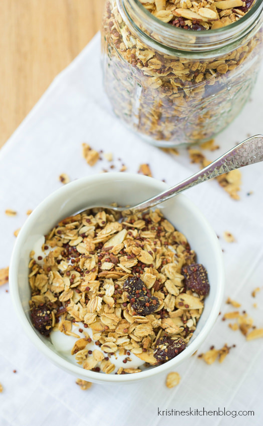 Deliciously Crunchy Cherry Almond Quinoa Granola | Kristine's Kitchen
