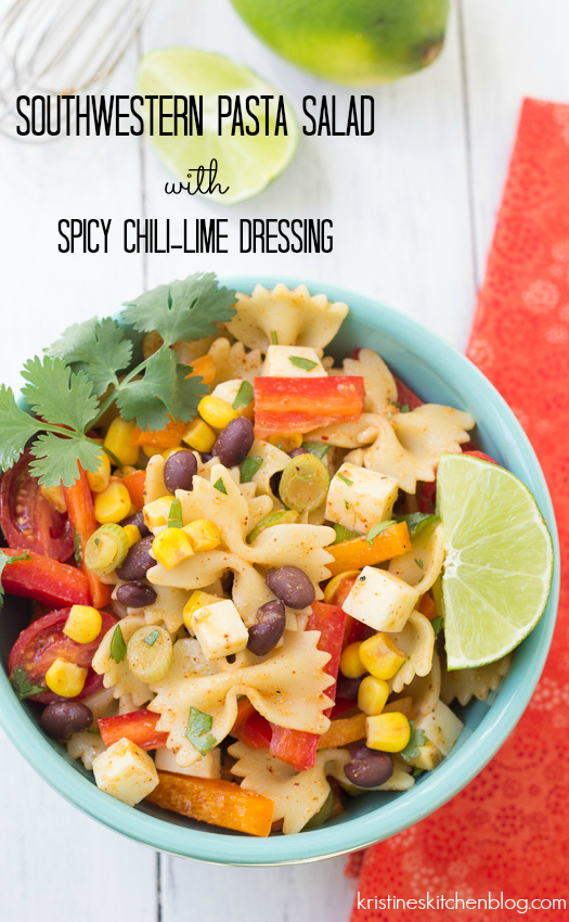 You will LOVE this Southwestern Pasta Salad with a spicy chili-lime dressing | Kristine's Kitchen