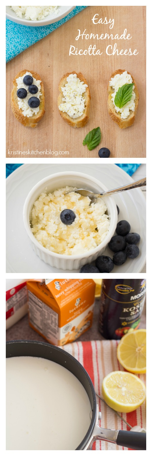 Easy Homemade Ricotta Cheese - I love this for snacking, appetizers, and lasagna!
