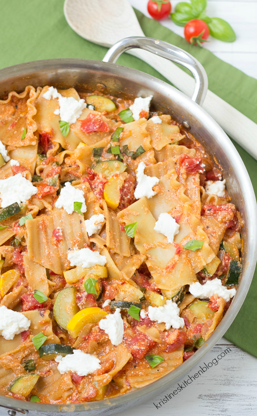 Summer Vegetable Skillet Lasagna - a healthy one-dish weeknight meal! | Kristine's Kitchen