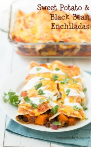 You will love this vegetarian take on enchiladas!  These Sweet Potato and Black Bean Enchiladas are a spicy, cheesy, and filling meatless main dish!