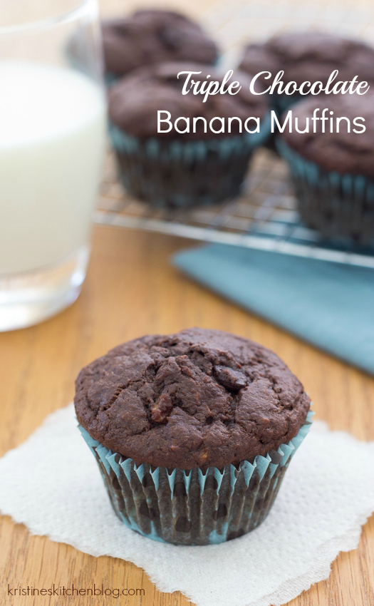 Triple Chocolate Banana Muffins (whole-wheat!) | Kristine's Kitchen