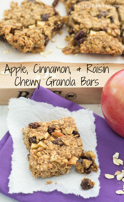 Apple, Cinnamon, and Raisin Chewy Granola Bars - a healthy lunchbox snack! | Kristine's Kitchen