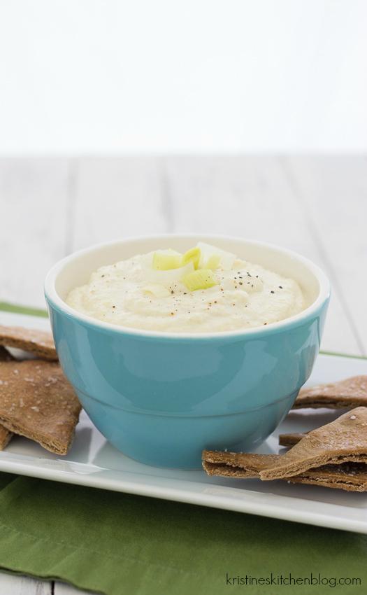 Artichoke, Leek, and Goat Cheese Dip with Garlic Pita Chips | Kristine's Kitchen