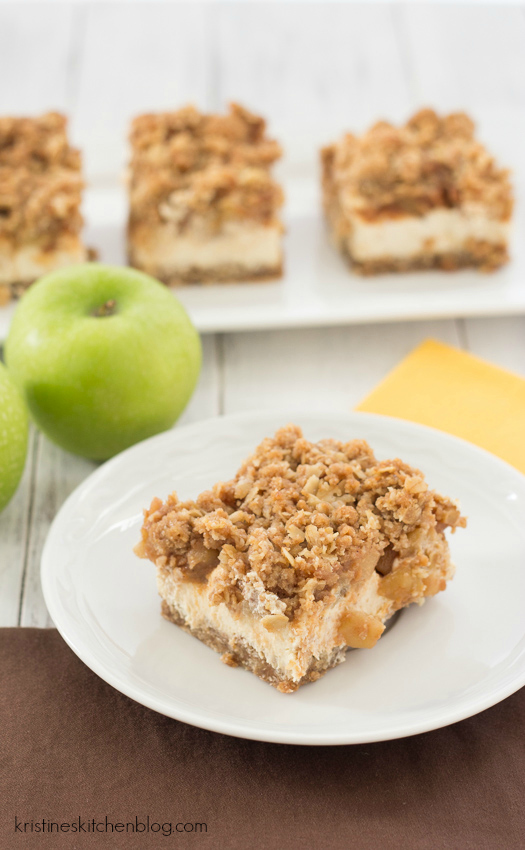 Caramel Apple Crumble Cheesecake Bars, with a light & creamy Greek yogurt cheesecake | Kristine's Kitchen