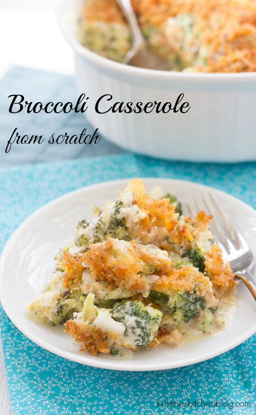 This cheesy broccoli casserole is made completely from scratch. | Kristine's Kitchen