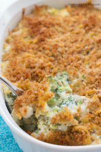 Cheesy, creamy broccoli casserole with a cheesy breadcrumb topping. | Kristine's Kitchen