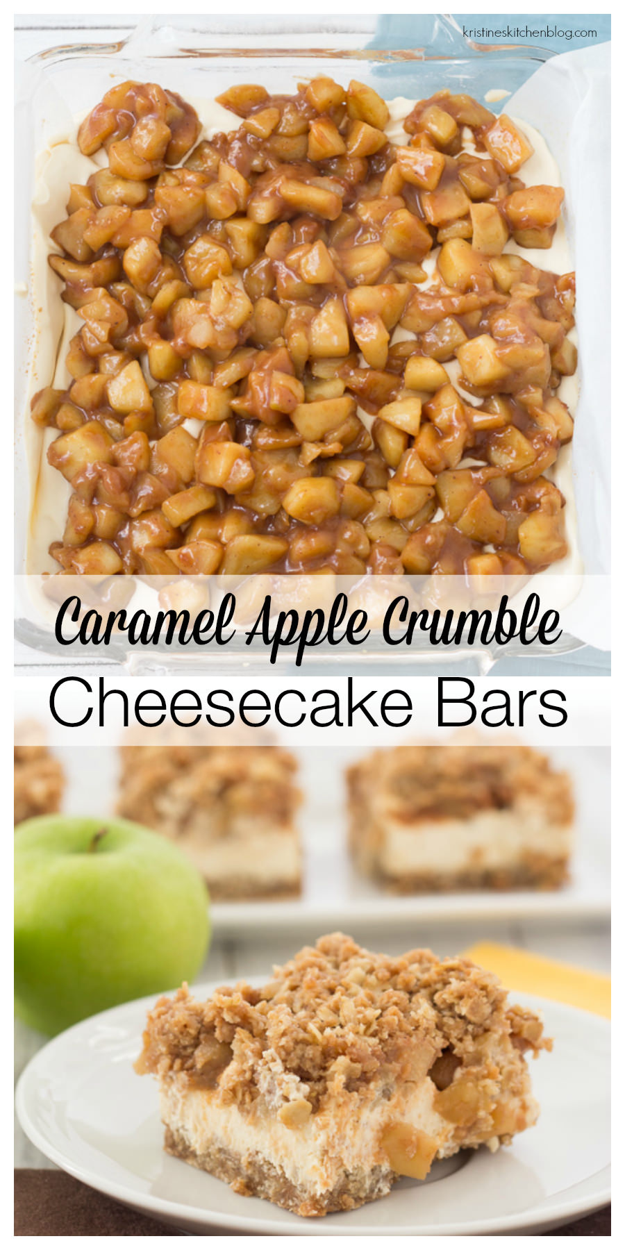 A caramelized oat crust, creamy Greek yogurt cheesecake, caramel apples, and crumb topping.  Gluten-free.