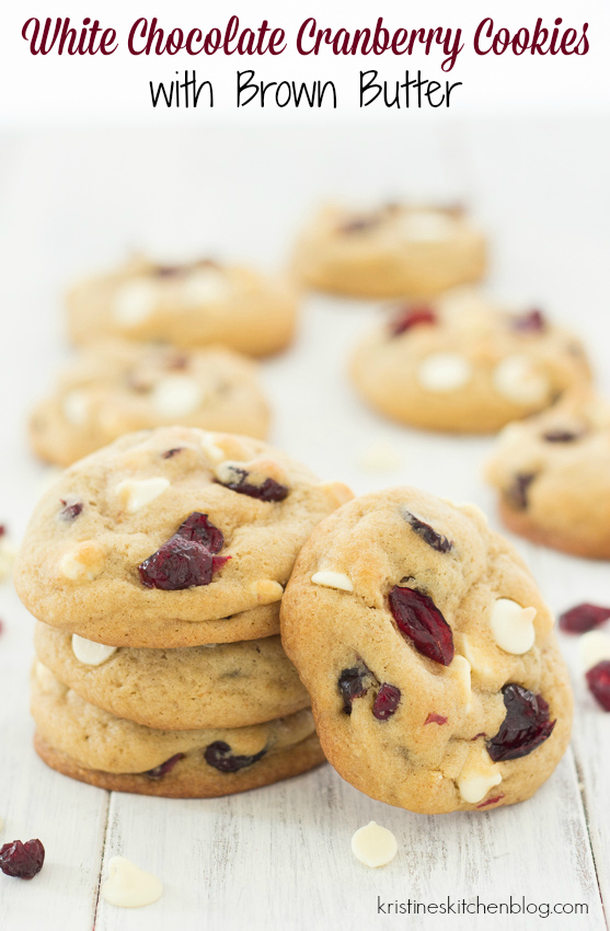 Soft, chewy cookies loaded with cranberries and white chocolate chips, plus brown butter!   Kristine's Kitchen