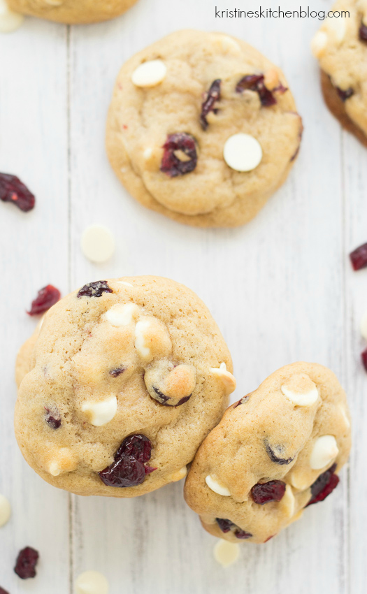 Soft, chewy brown butter cookies loaded with white chocolate and cranberries.   Kristine's Kitchen