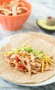 3-Ingredient Slow Cooker Taco Chicken - 10 minutes prep, the easiest ever taco chicken!