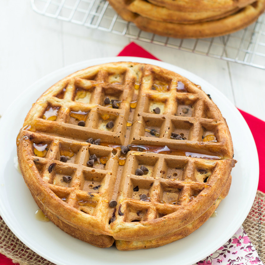 Healthy Chocolate Chip Waffles - crisp on the outside, soft on the ...