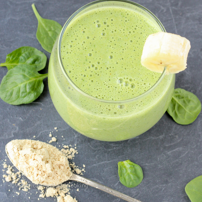 Low-Calorie-Peanut-Butter-Banana-Spinach-Smoothie from American Heritage Cooking