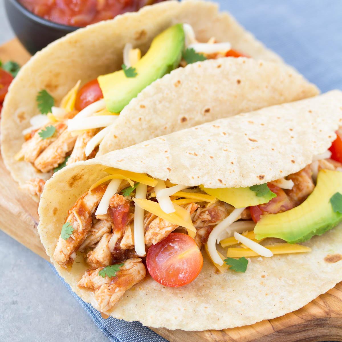 3-Ingredient Slow Cooker Taco Chicken - Kristine's Kitchen