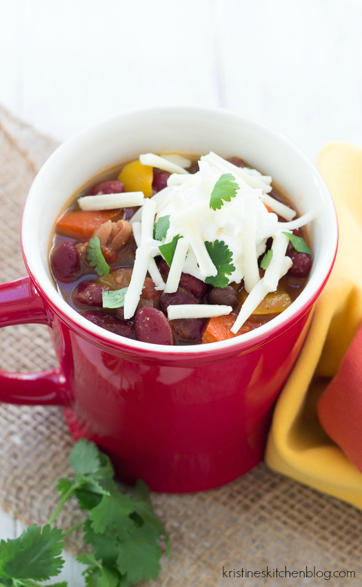 Vegetarian Chili - an easy recipe that you can make in your slow cooker or on the stovetop. #crockpot
