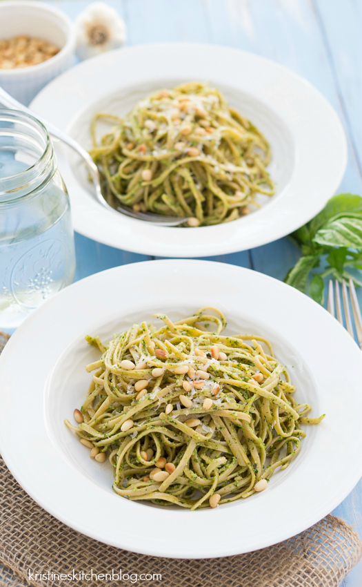 Kale Pesto Pasta - pasta tossed with creamy pesto and toasty pine nuts.  A healthy meatless meal!