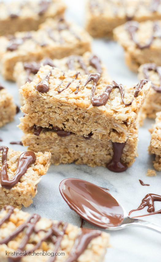 {10 Minute} No-Bake Granola Bars - with oats, coconut, almond butter, and honey.